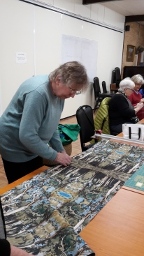Anne Tresise--prep work for making bags for Mulberry Hill , National Trust