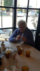 Mary Danckert at Tom Wilson Cafe --world knitting in public day